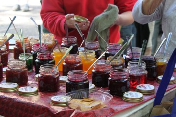 table of jam samples