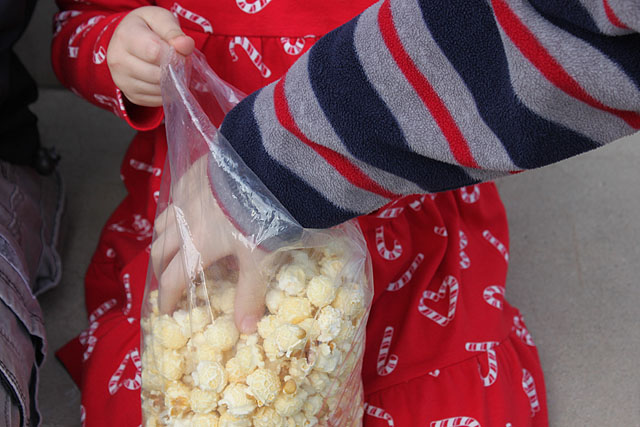 hand in the plastic kettle corn bag