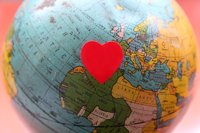 1 globe red heart sticker