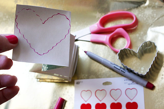 3 wrapping paper heart accordion stencil
