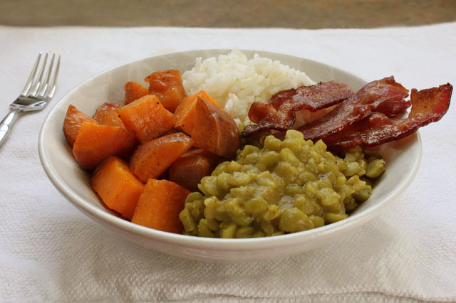 5 split green pea rice sweet potato bacon bowl
