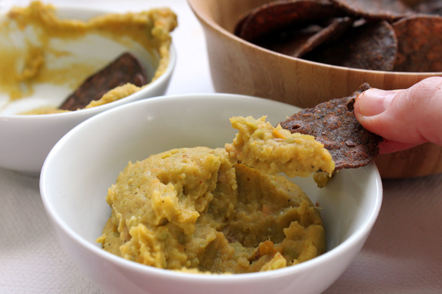 split green pea and sweet potato dip with black bean chips