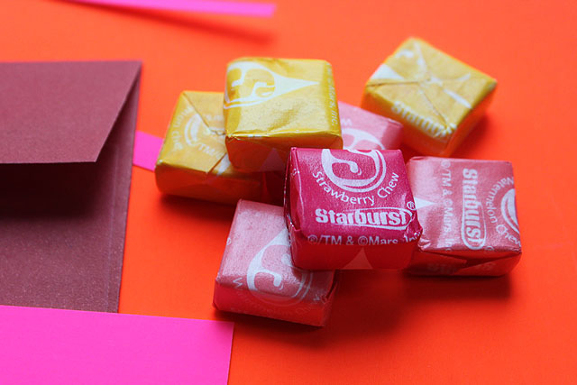 stack of starburst for valentine