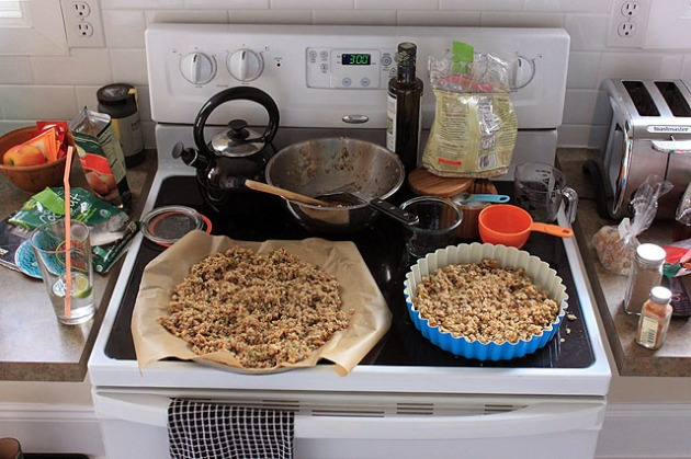 scene of granola stove mix