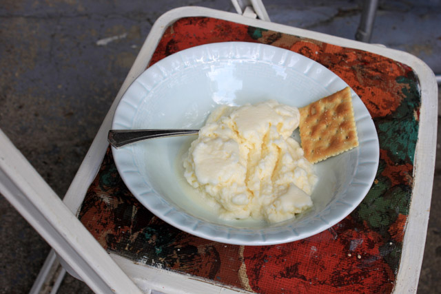9 homemade ice cream with saltine in bowl