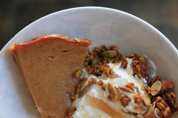 pumpkin custard pumpkin granola yogurt