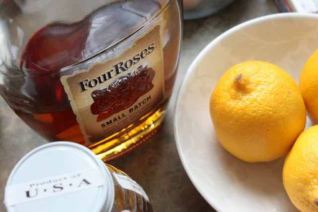 3 four roses bourbon lemons honey jar