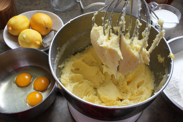 4 creaming butter sugar lemon bundt mixing batter