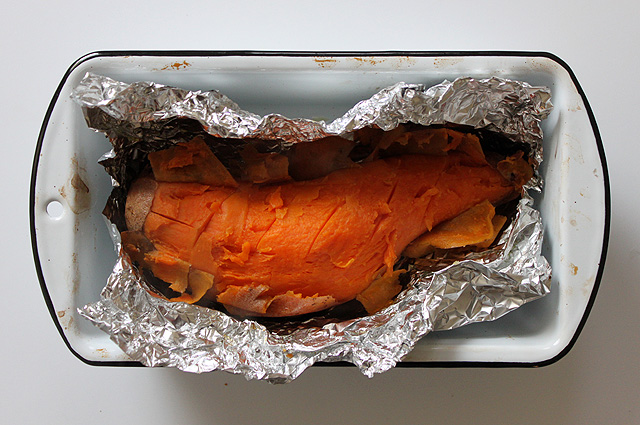 2 roasted sweet potato skinned in foil