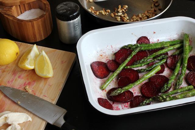 6 beets asparagus toasted pine nuts mozzarella