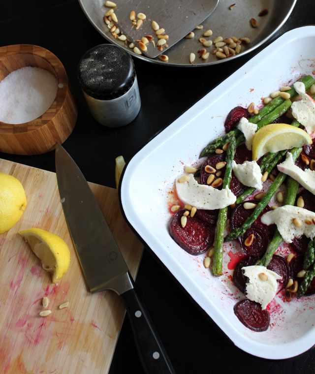asparagus beets roasting pan topped with mozzarella toasted pine nuts