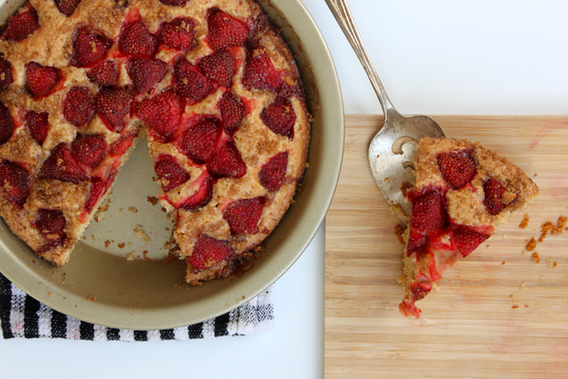 baked strawberry buttermilk cake slice