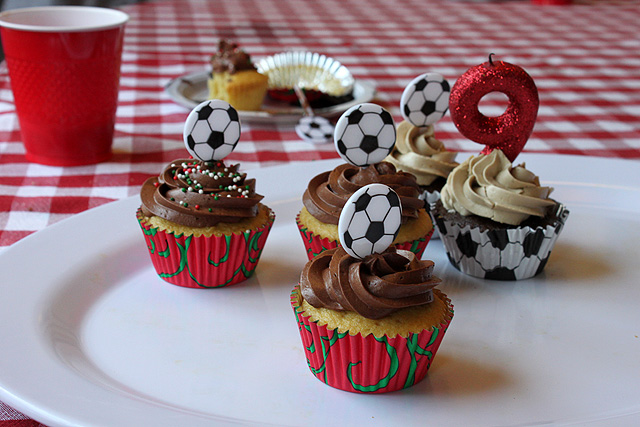 9 soccer ball cupcakes left