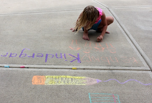 kindergarten chalk drawing