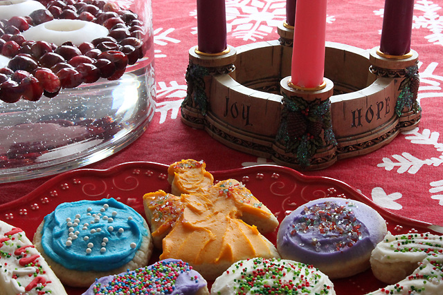 5 cookies advent candles joy hope