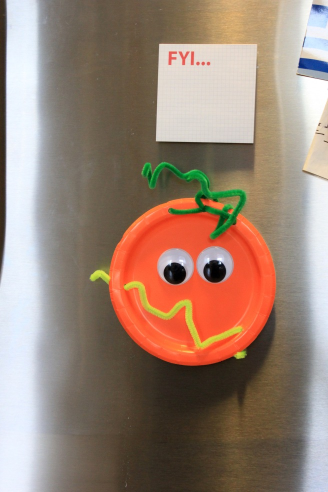 Silly Pumpkin Plate Face on Fridge